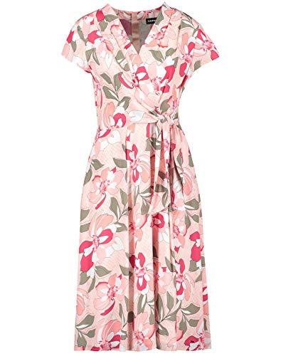 Taifun Damen Kleid Mit Blumen-Print Tailliert Apricot Blush Gemustert 46