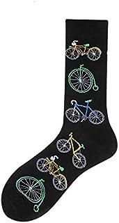Mdsfe, Heliansheng 1 par de Calcetines para Hombre, Calcetines de algodón, Calcetines Divertidos, Calcetines con Estampado de Dibujos Animados, Calcetines Casuales para Mujer - Bicicleta Negra, EUR39-46