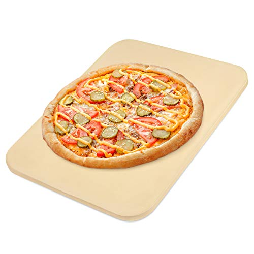 JulyPanny Pizza Stone, Ceramic Pizza Grilling Stone/Baking Stone, Perfect Baking Tools for BBQ and Grill - Thermal Shock Resistant, 15'x12' Rectangular and 0.63'' Thick, Durable Pizza Pan