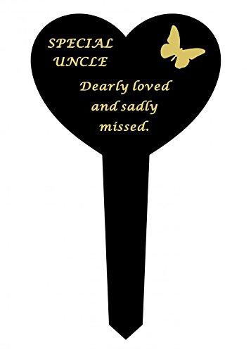 Uncle - Black & Gold Plastic Memorial Heart Stake Graveside Spike Marker Crematorium