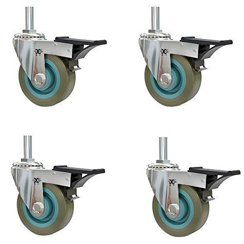 ZXL wielen (4-delige verpakking) grijze schroef met rem universeel wiel stootvast wielframe