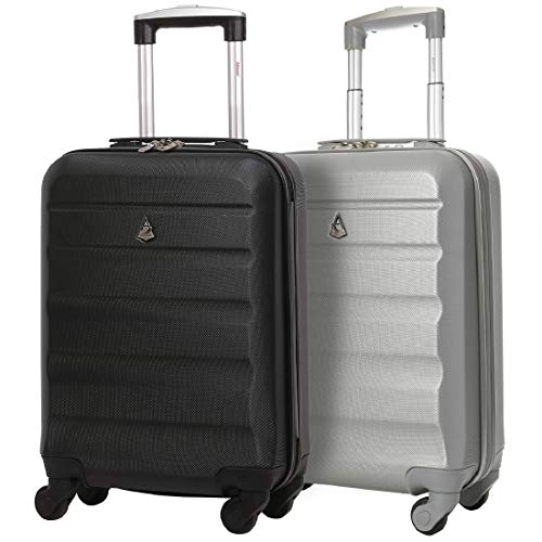Set of 2 Aerolite 55cm ABS Hard Shell Carry On Hand Cabin Luggage Suitcase (Black + Silver)
