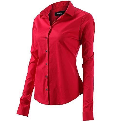 FLY HAWK Bluse Hemdbluse Damen Hemd Basic Kent-Kragen Elegant OL Work Slim Fit Langarm Stretch Formelle Hemden,Rot, Größe 44, Hersteller - 16