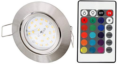 LED RGB Slim Spot inbouwspot 230V draaibaar - met afstandsbediening - kleurverandering - 3-traps dimbaar - geheugenfunctie - ijzer geborsteld