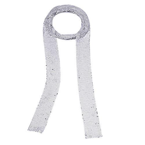 de las mujeres de la bufanda de lentejuelas del brillo del metal corbata Partido bufandas de noche largo flaca fina Pañuelo