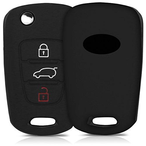 kwmobile Funda de Silicona para Llave Plegable de 3 Botones para Coche Hyundai - Carcasa Protectora Suave de Silicona - Case Mando de Auto Negro