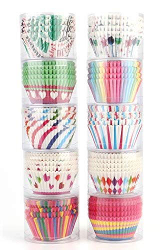 Tosnail 1000パック 紙製ベーキングカップ カップケーキライナー マフィンライナー - 10種類のスタイル詰め合わせ