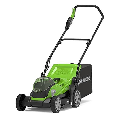 Greenworks Cortacésped sin cable G24X2LM36, Li-Ion 2x24V 36cm anchura hasta 250 metros cuadrados 40L recogedor de hierba 5 regulaciones altura de corte sin batería y cargador