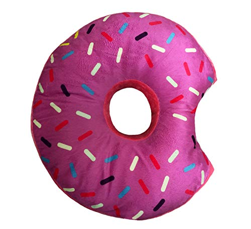 Donut Plush Pillow Stuffed Cushion Soft Toy Decor, 14 Inches (Pink Icing)