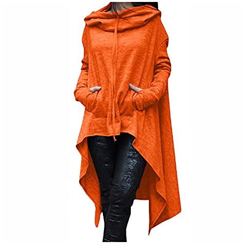Women Hoodie Sweatshirt High Low Hem Cape Solid Cloak Casual Hooded Tops Pullover Trendy Fall Blouse with Pocket Orange