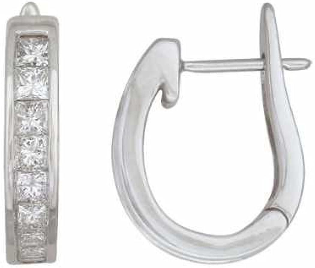 1.00 Cttw Princess- Cut Diamond (H-I1) Hoop Earrings set in 14k White Gold