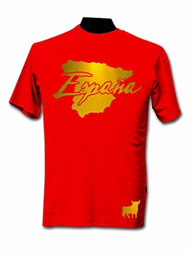 DASHOP T-Shirt Espagne Rouge et Or Métallisé