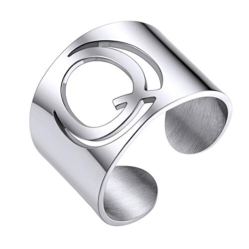 ChainsHouse Personalized Stainless Steel Initial Letter Open Ring Adjustable Women Statement Rings Party Open Band Alphabet Rings(Letter Q)