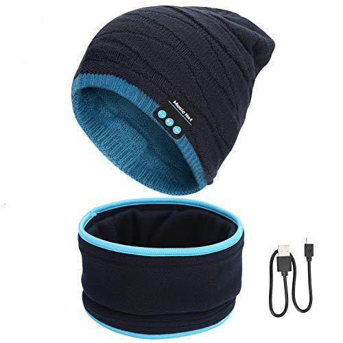Gorro Bluetooth V5.0 Hombre y Mujer Beanie Música con Calentador de Cuello Gorro de Punto Invierno con Auriculares Inalámbricos Sombrero de Música Bluetooth para Correr, Esquiar, Regalar, Azul y Negro
