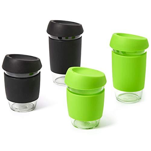 EZOWare 350ml / 500ml Glas Kaffeebecher to Go, Travel Kaffeetassen Teegläser mit Silikonhülle und Deckel für Heiße oder Kalte Kaffee, Getränke, Tee - 4er Set/Schwarz & Grün