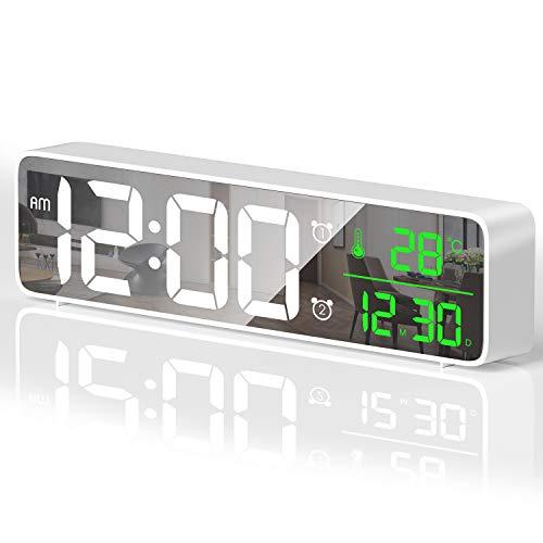 HOTERB Reloj Despertador Digital,Despertadores Digitales LED con 40 Melodias,2 Alarma,Temperatura y Hora,Digitos Grandes Reloj Digital Sobremesa Pantalla de Espejo para Dormitorio,Mesita(Blanco)