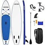 Caroma Tablas Hinchables de Paddle Surf, Paddle Remo de Ajustable Inflable Sup | Bomba | Aleta Central Desprendible | Surf Leash | Mochila | Kit de Reparación (Azul Oscuro, 320x76x15cm)