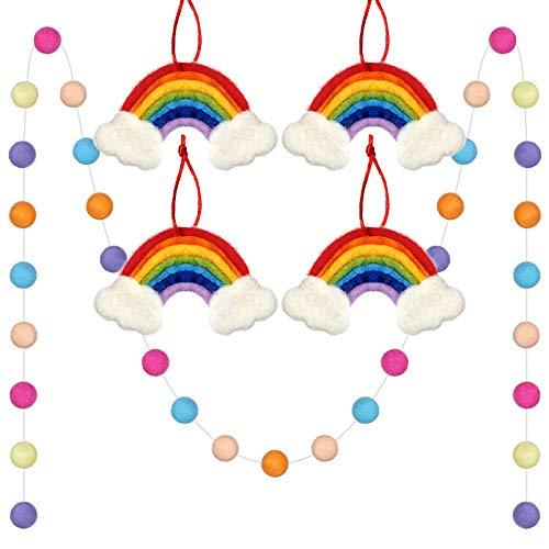 5 Pieces Large Felt Rainbow Garlands Colorful Felt Ball Garland Rainbow Wall Hanging Decorative Baby Mobile Ornament Pompom Ball Garland Decorative Felt Rainbow Craft for Home Decor Party Baby Shower
