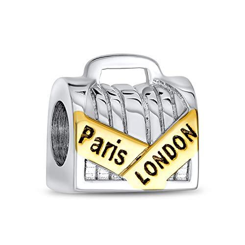 Londres París equipaje viaje maleta encanto encanto para las mujeres 2 tonos 14K oro plateado plata de ley se adapta a la pulsera europea