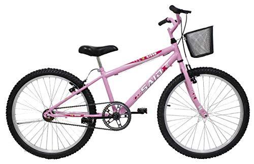 Bicicleta Aro 24 Feminina Mono Sem Marcha Com Cesta Saidx (Rosa)