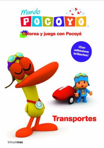 Colorea y juega con Pocoy. Transportes: Libro de actividades con adhesivos (Pocoyo)