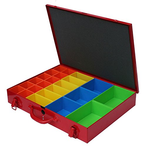 ADB Metall Sortimentskoffer SK2 Kleinteilemagazin inkl. 23 PVC-Systemfächer, praktischer, robuster Metallkoffer, hochwertige Verarbeitung, aus Qualitätsblech