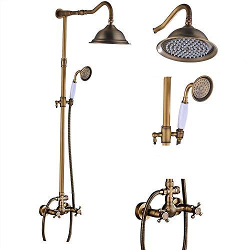 Saeuwtowy - Colonna per doccia in ottone antico, con miscelatore fisso, soffione fisso e soffione doccia a effetto pioggia