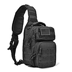 Great small tactical rover sling pack with molle as day pack or EDC bag, it's made of durable 600D polyster. Sling pack size: 12 * 9.5 * 6 inch (H*W*D), enough for carrying 9.7 iPad, small notepad, keys, wallet, cell phone, flashlight, gloves, bottle...