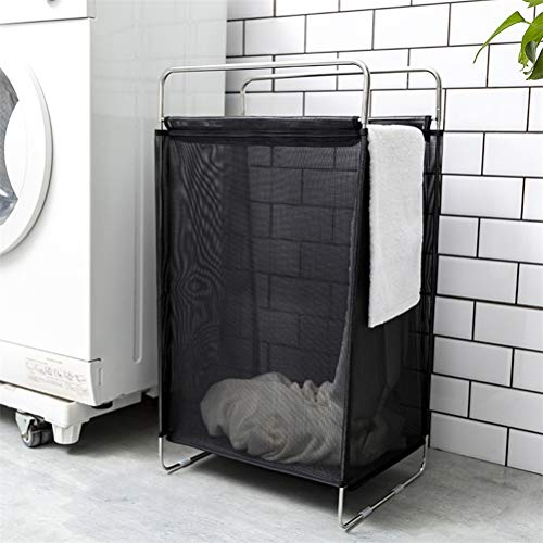 LALAWO Shounalan Inklapbare nylon mesh hamer huishoudelijke draagbare roestvrijstalen beugel grote wasmand badkamer kleding opbergmand