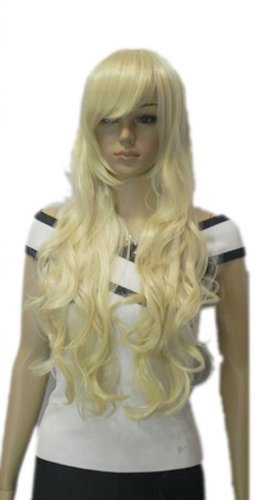 Qiyun Longue Boucle Ondule Blond Jaune Synthetique Cheveux Complete Perruque Cosplay