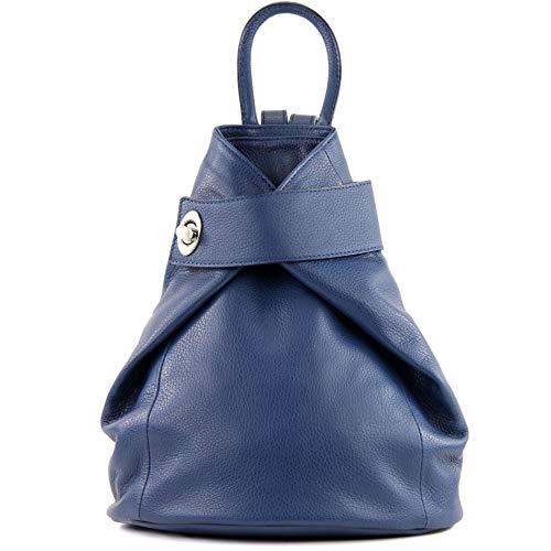 modamoda de - T179 - ital: Damen Rucksack Tasche aus Leder, Farbe:Saphirblau