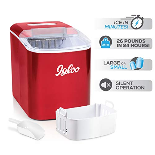 Igloo ICEB26RR Automatic Portable Electric Countertop Ice Maker Machine, 26 Pounds in 24 Hours, 9 Ice Cubes Ready in 7 minutes, With Ice Scoop and Basket, Perfect for Water Bottles, Mixed Drinks