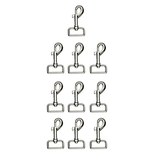 TEHAUX 10pcs Swivel Bolt Snap Hook Zinc Alloy Clip Buckle Heavy Duty Dog Chain Pet Leash Flag Keychain Diving Snorkeling Equipment Silver