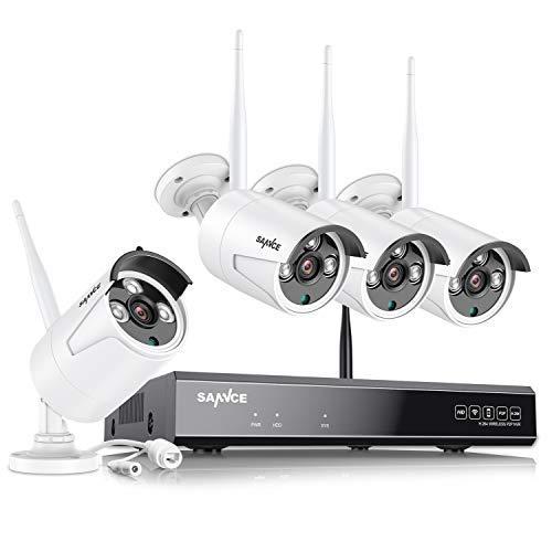 SANNCE Kit de Seguridad Inalámbrica 8CH NVR 1080P H.264 CCTV sin Disco Duro de Videovigilancia + 4 1080P IP Cámaras Sistema de Vigilancia WiFi - sin HDD