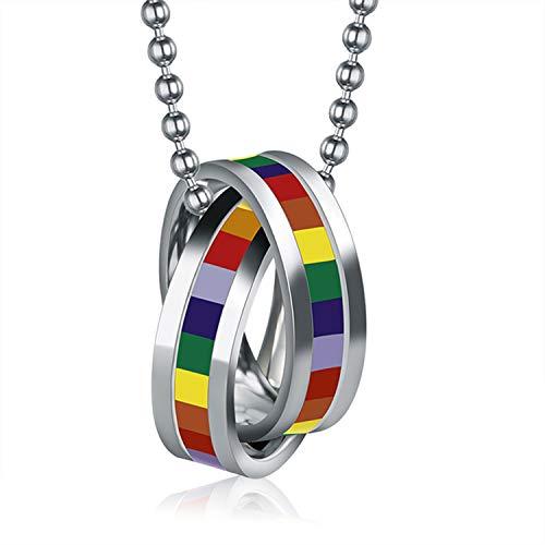 Collar Anillos Arcoiris Acero Inoxidable Orgullo Gay Regalo San Valentin Hombre Mujer Joyería de Moda