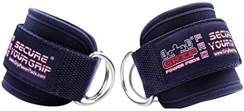 Grip Power Pads Ankle Straps for Cable Machines Double D-Ring Adjustable Neoprene Premium Cuffs to Enhance Legs, Abs ...