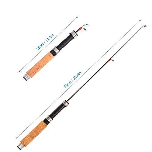 Poste telescópico de hielo for la pesca for el carrete de caña de invierno Juego Mini Pole Carrete de pesca de hielo ultraligero de invierno con caña for la carpa Herramienta de aparejos de pesca