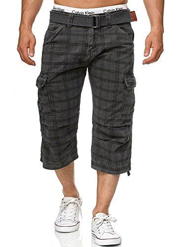 Indicode Herren Nicolas Check 3/4 Cargo Shorts kariert mit 6 Taschen inkl. Gürtel aus 100% Baumwolle | Kurze Hose Sommer Herrenshorts Short Men Pants Cargohose kurz für Männer Raven Check M