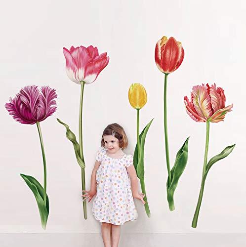 decalmile Pegatinas de Pared Tulipán Vinilos Decorativos Plantas de Flores Adhesivos Pared Habitación Infantiles Dormitorio Oficina Salón