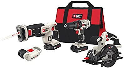 PORTER-CABLE Cordless Drill Combo Kit Power Tool, 4-Tool (PCCK616L4)