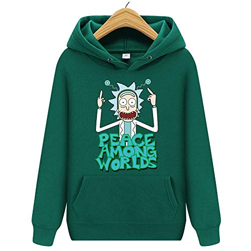 WANLN vowit Marca di Modo Cappuccio della Donna degli Uomini di Stile Felpe Nero Stampa Rick Morty Modello a Maniche Lunghe Autunno Inverno Tempo Libero Pullover,Verde,S
