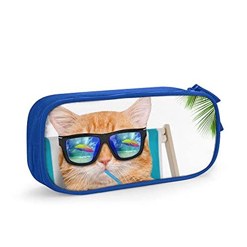 Estuche para lápices de jugo de consumición de gatos para niños, gran capacidad, organizador de oficina, bolsa de lápices de suministros escolares