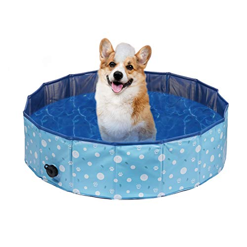 Delicacy Foldable Pet Dogs Paddling Pool Puppy Cats Swimming Bathing Tub Paddling Pool for Pets Swimming Pool Children Kid Ball Water Ponds Outdoor Indoor 80x80x20cm, Blue Update Paw Print Pattern