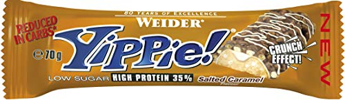 Weider Yippie! 12 x 70g Riegel, Salted-Caramel  | 6 Schokoladenschichten