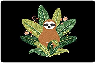 InterestPrint Baby Sloth On Tropical Leaves Doormat Non-Slip Indoor And Outdoor Door Mat Rug Home Decor, Entrance Rug Floo...