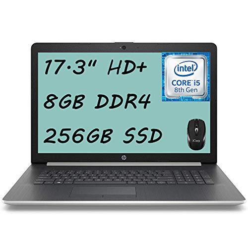 Flagship HP 17 Laptop Computer 17.3' HD+ SVA Display 8th Gen Intel Quad-Core i5-8265U (Beatsi7-7500U) 8GB DDR4 256GB SSD Intel UHD Graphics 620 WiFi HDMI DVD Webcam Win 10 + iCarp Wireless Mouse