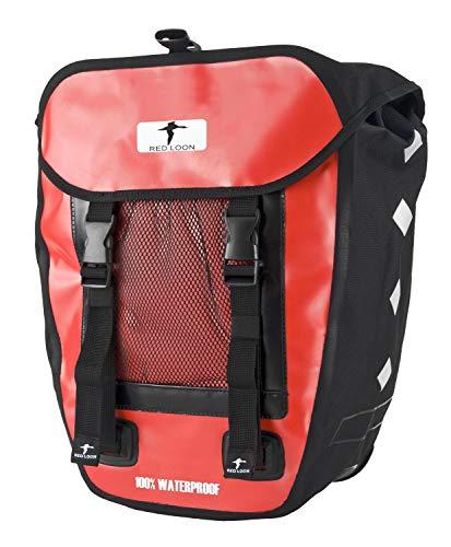 Red Loon 1 x robuste Fahrradtasche aus LKW-Plane – wasserdichte Packtasche für Gepäckträger in Rot