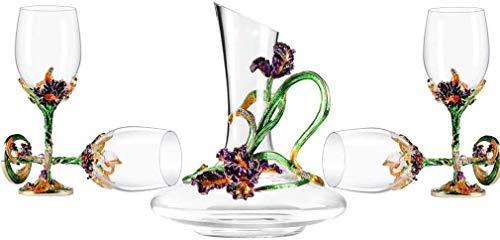 Decantador Cristal de cristal Copa de vino Decantador de vinos Estilo europeo Decoración del hogar Copas de vino Traje, con caja de regalo, 100% de cristal sin plomo. Decantador de vino de cristal
