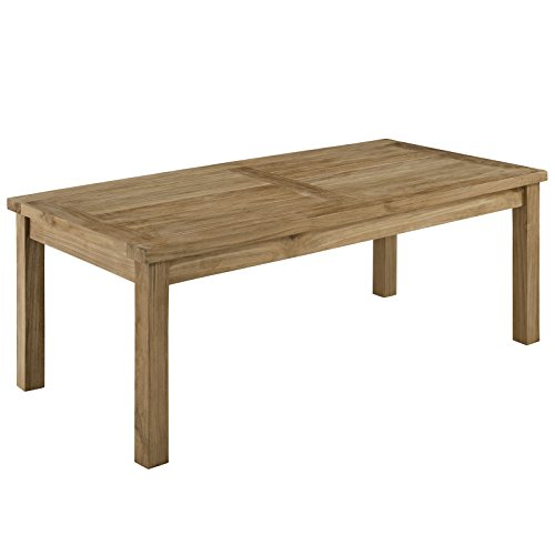 Modway Marina Premium Grade A Teak Wood Outdoor Patio Rectangle Coffee Table in Natural