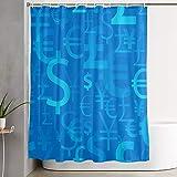 GKGYGZL Cortina de Ducha,Símbolos de Moneda Color Azul Dólar Euro Yen y Libra Iconos,Cortina de baño Cortina de baño Lavable Tela de poliéster con 12 Ganchos de plástico 180x180cm